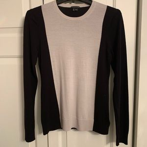 Theory Black and Grey Colorblock Sweater